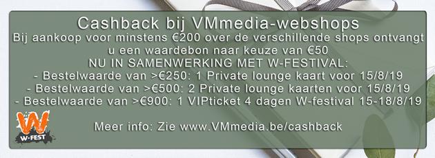 Cashback-actie op alle sites van VMmedia